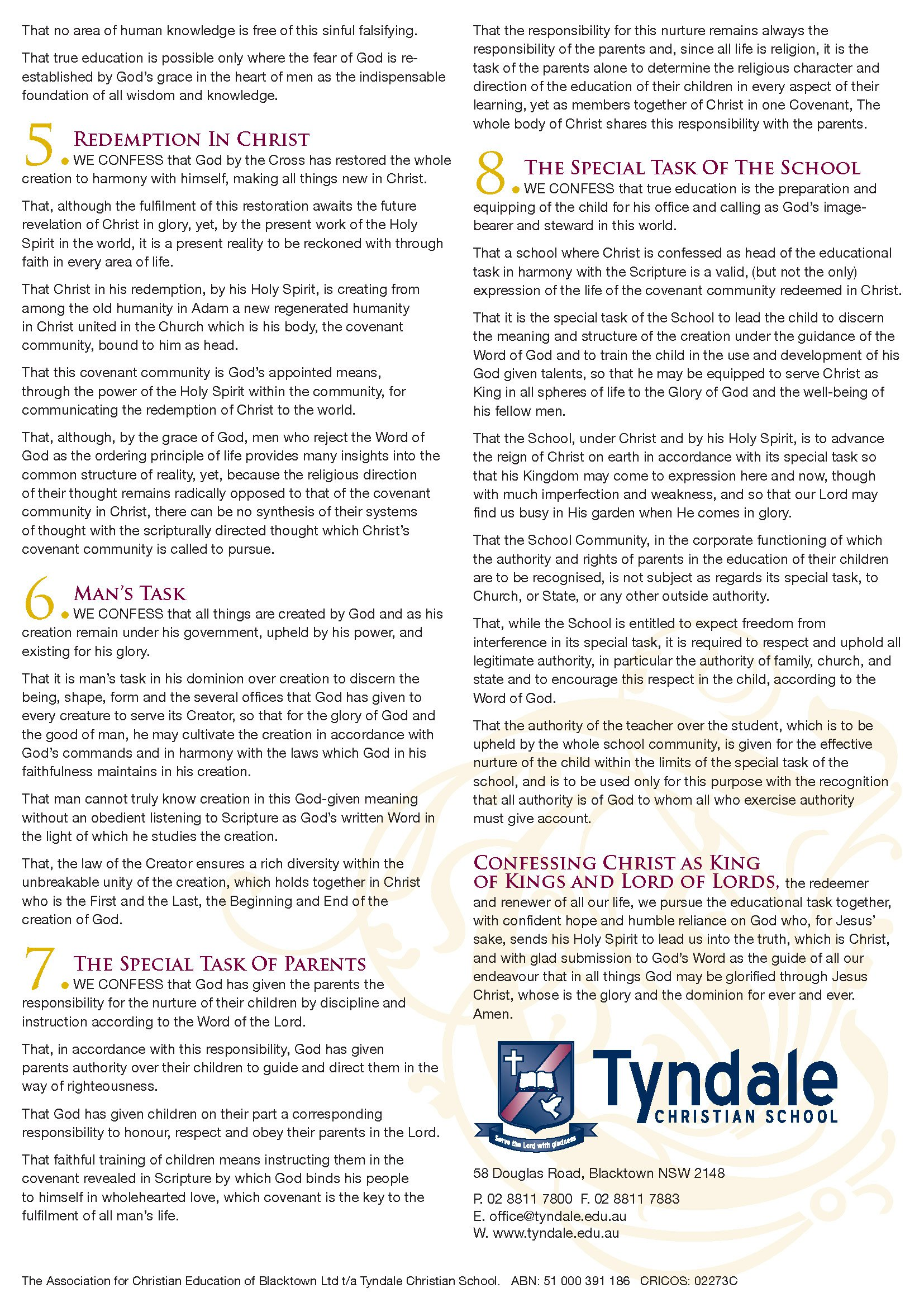 Educational Creed - Tyndale